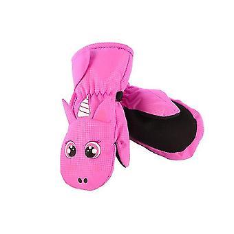 L lã rosa pendurado luvas de pescoço para crianças x4327