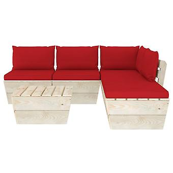vidaXL 6 pezzi. Set di divani da giardino in pallet con cuscini in legno di abete rosso