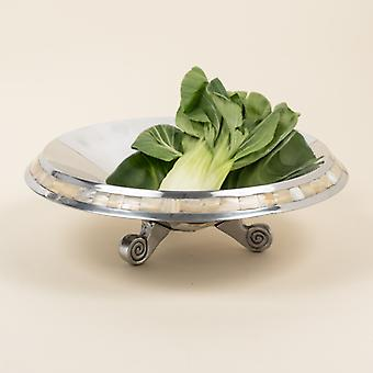 Silver and Mother of Pearl Pedestal Centerpiece Bowl