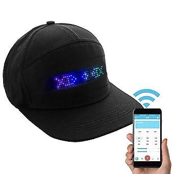 Bărbați Femei Bluetooth Led Hip Hop Hat - Programmable Party Display Cap (Blueteeth Negru)