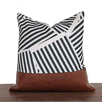 Homemiyn Leather Geometry Stitching Pillow Sofa Seat Car Back Pillow Back Support
