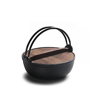 25cm Cast Iron Stew Pot With Wood Cover Soup Pot Japanese Sukiyaki Stew Pot Uncoated Outdoor(black)