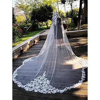 صورة حقيقية فريدة من نوعها طبقة واحدة الحجاب الزفاف مع مشط الدانتيل حافة الحجاب الزفاف