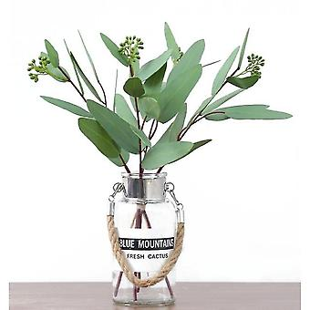 12 Pack Potted Fake Plants Artificial Plastic Eucalyptus Plants(Style1)