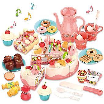 عيد ميلاد كعكة لعبة للأطفال التظاهر لعب مجموعة الغذاء مع ضوء-82pcs