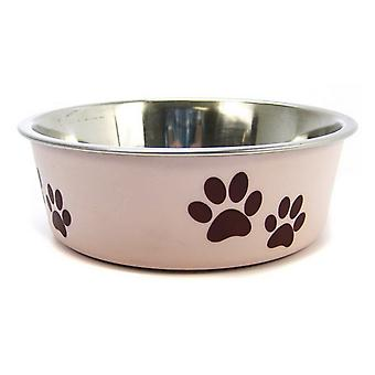 """Loving Pets Stainless Steel & Light Pink Dish with Rubber Base - Small - 5.5"""" Diameter"""