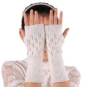 Vrouwen lange hand geborduurde handschoenen gebreid warm voor de winter vingerloos
