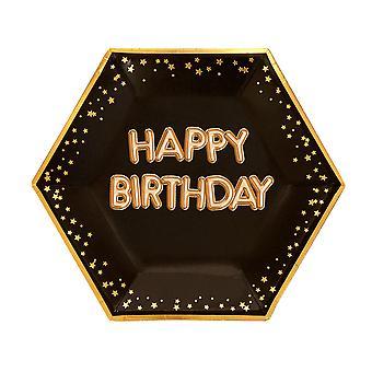צלחת נצנצים וזוהר בשחור וזהב - יום הולדת שמח גדול