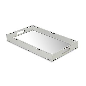 White Wooden Mirrored Serving Tray