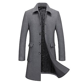 Homemiyn الرجال طويلة نقية اللون معطف عارضة الخريف / الشتاء سترة دافئة