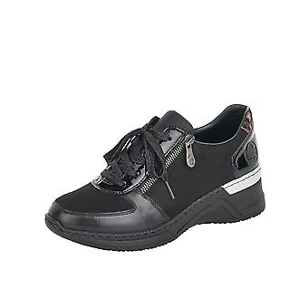 Rieker N4311-00 Olga Smart Casual Lace-up Trainers In Black