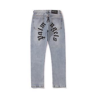 Palm Angels Zipper Casual High Street Straight Couple Jeans Pour Hommes Et Femmes