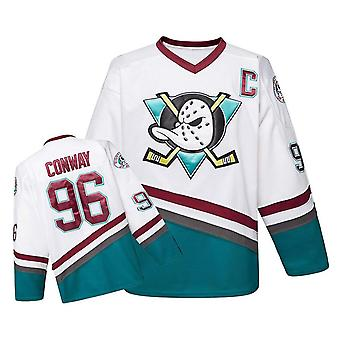 Charlie Conway White #96 Mighty Ducks Maillot de hockey sur glace