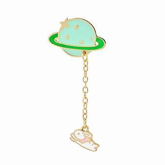Cute Enamel Lapel Brooch Pin Set Cartoon Astronaut Spaceship Brooches Novelty Funny