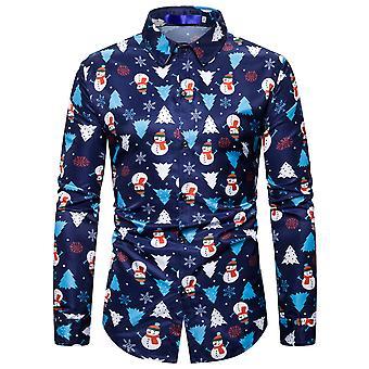 Silktaa Men's Christmas Print Lapel Long Sleeve Button Down Shirt
