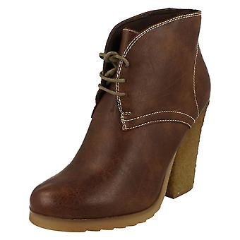 Down To Earth Chunky Heel Lace Up Ankle Boot