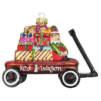 Little Red Wagon Filled with Elf and Gifts Glass Holiday Ornament