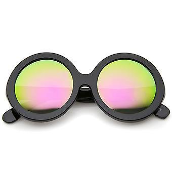Jackie O klobigen Rahmen Farbe Spiegel Objektiv übergroße Runde Sonnenbrille 53mm