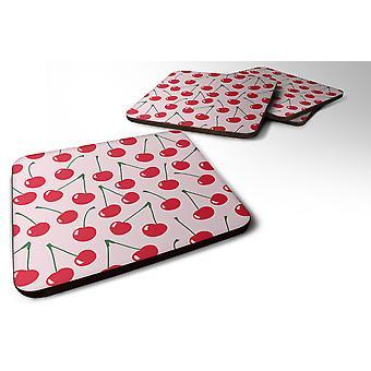 Carolines Treasures  BB5139FC Set of 4 Cherries on Pink Foam Coasters Set of 4