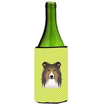 Checkerboard Lime Green Sheltie Wine Bottle Beverage Insulator Hugger