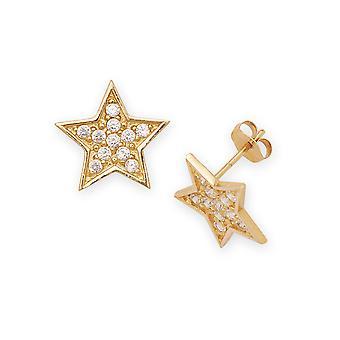 14 k amarillo oro Circonita grande Post lujo estrellas pendientes - medidas 12x12mm
