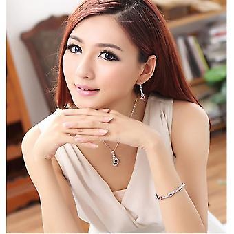 Schöne Frauen Orange Kristalle Blatt Anhänger Halskette BGCW0066