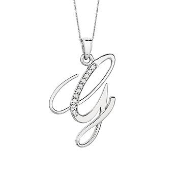 Sterling Silver Rhodium Plated Script Initial Letter G With Diamonds On 18 Inch Chain ( 0.05 Tcw)