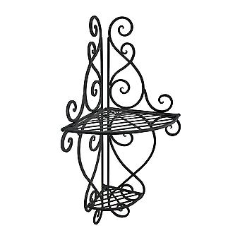 2 Tier Scrolling Metal Decorative Corner Wall Shelf