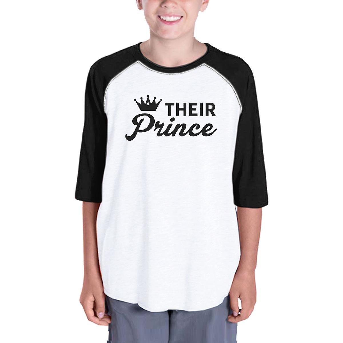 Their Prince Kid Baseball Tee For Boys Black Sleeve Raglan For Boys