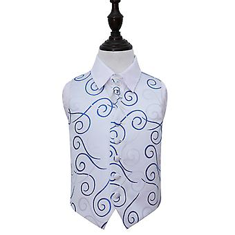 Zilver & Koningsblauwen Scroll bruiloft gilet Cravat Set voor jongens