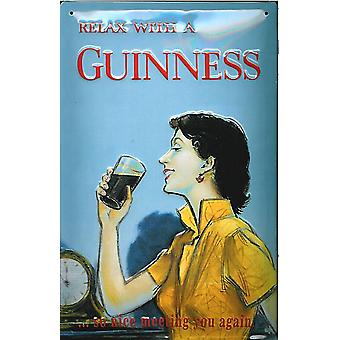 Relax With A Guinness Embossed Steel Sign 300Mm X 200Mm