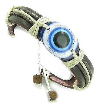 Amulet Bracelet réglable en cuir véritable avec All-Seeing Eye mal Protection symbole Lucky Charm
