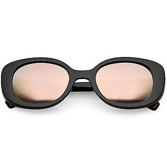 Retro tyk Chunky Oval solbriller farvede spejl runde linse 52mm