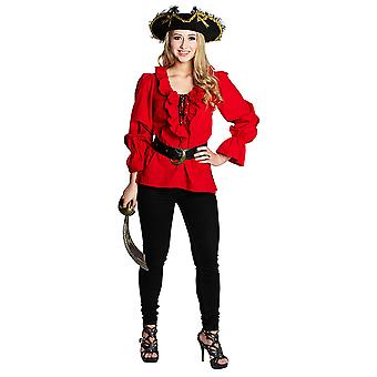 Piratenbluse rot Raffärmelshirt Piratin Freibeuterin Kostüm für Damen