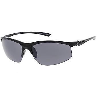 Sport senza montatura leggera Semi avvolgere occhiali da sole lenti a specchio colorate neutro 62mm