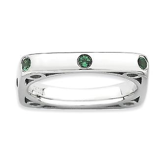 3.25mm 925 Sterling Silver Bezel Rhodium plated Stackable Expressions Polished Created Emerald Square Ring Jewelry Gifts