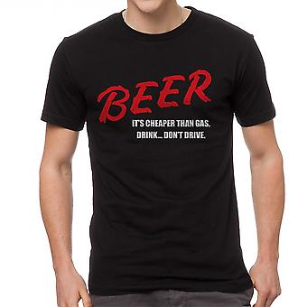 Funny Beer It's Cheaper Than Gas Graphic Men's Black T-shirt