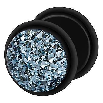 Falso traidor Ear Plug preto, brinco, joias de corpo, com Multi cristal água-marinha
