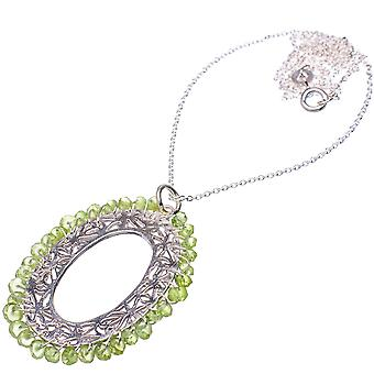 "Peridot 925 Sterling Silver Necklace 21""  - Handmade Boho Vintage Jewelry NEC11860"
