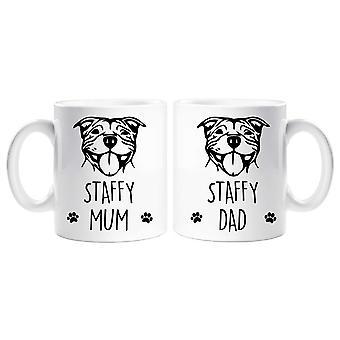 Conjunto de taza de staffy mamá papá Staffy