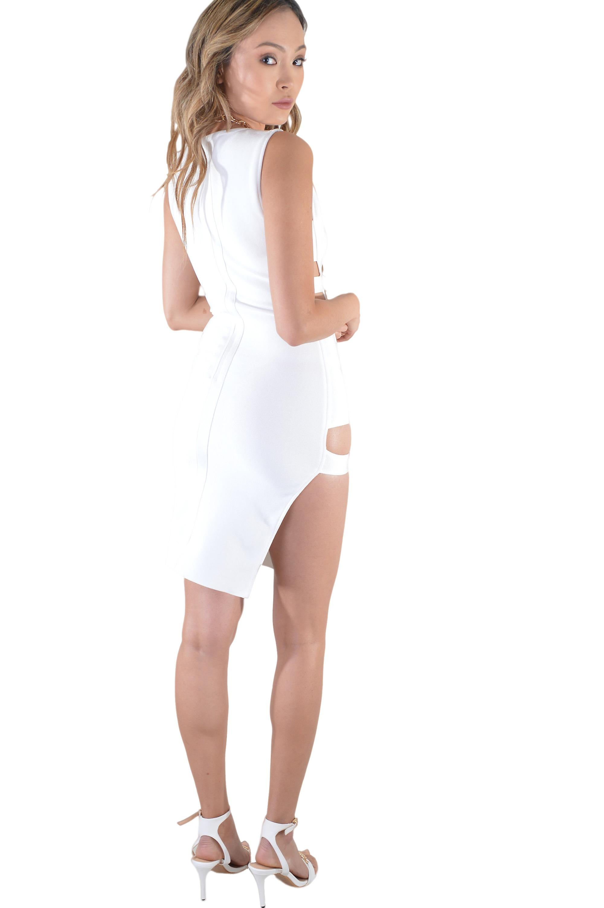 Lovemystyle White Side Cut-Out Bodycon Dress