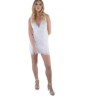 Lovemystyle White V-Neck Lace Dress With White Piping