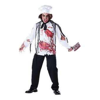 Mens Goremet Chef Zombie Cook Uniform Halloween Fancy Dress Costume