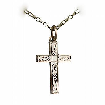9ct Gold 20x13mm handgravierte soliden Block Kreuz mit einem Belcher Kette 24 Zoll