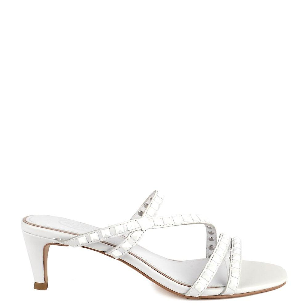 Ash KATE STUDS Heel Sandals White Leather