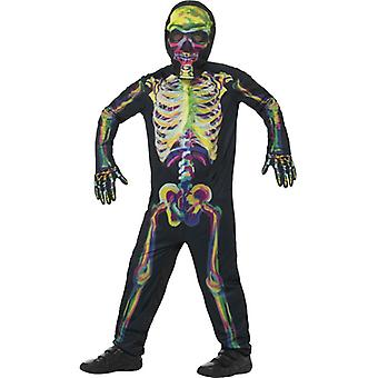 Resplandor en el oscuro traje de esqueleto