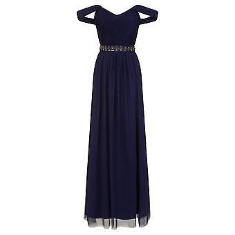 Little Mistress Womens/Ladies Navy Jewel Waist Maxi Dress