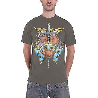 Bon Jovi T Shirt coeur & dague bande logo nouveau officiel Mens gris