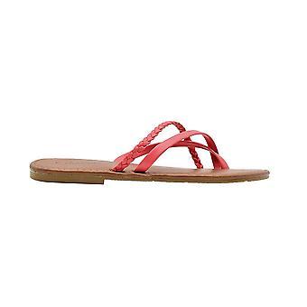 Chatties hyvät muoti sandaalit sileä PU Thong slip on asuntoja punos yksityiskohtaisesti
