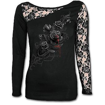 Spiral - fatal attraction - womens  - lace one shoulder top black